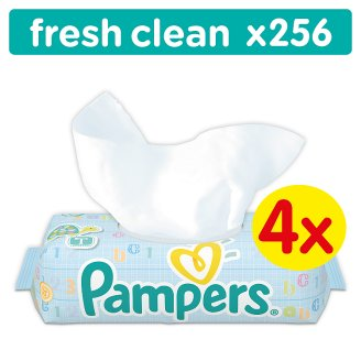 Pampers Fresh Clean Baby Wipes 4 Packs 256 Wipes