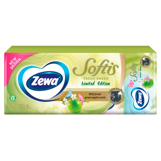 Zewa Softis Honey Blossom Scented Handkerchiefs 4 Ply 10 x 9 pcs