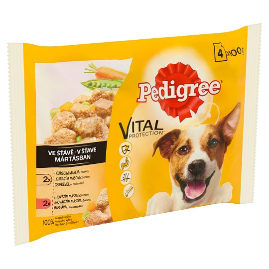 Pedigree Vital Protection Complete Pet Food for Adult Dogs in Sauce 4 x 100 g