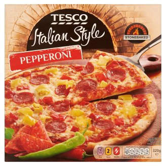 Tesco Italian Style Pepperoni Quick-Frozen, Pre-Baked Pizza 320 g