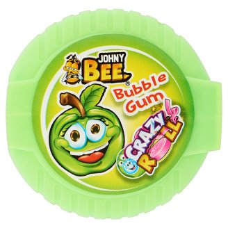 Johny Bee Crazy Roll Green Apple or Blue Raspberry Flavoured Bubble Gum 18 g