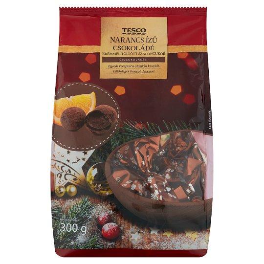 Tesco narancs ízű csokoládé krémmel töltött étcsokoládés szaloncukor 300 g