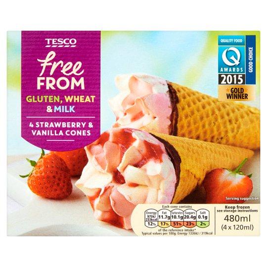 Tesco Free From tejmentes eper- és vanília jégkrém eperízű öntettel, kukoricatölcsérben 4 x 120 ml