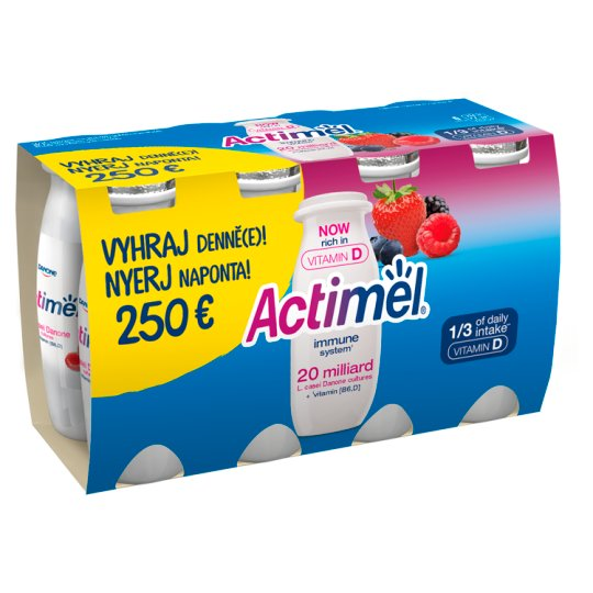 Danone Actimel Low-Fat Forest Fruit Flavoured Yoghurt Drink with Live Culture 8 x 100 g