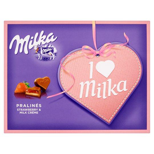 Milka I ♥ Milka tejcsokoládé praliné joghurt ízű tejes krémtöltelékkel, epres zselétöltelékkel 120 g