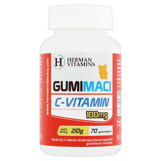 Herman Vitamins Gumimaci C-vitamin 100 mg banán ízű étrend-kiegészítő gumivitamin 70 db 210 g