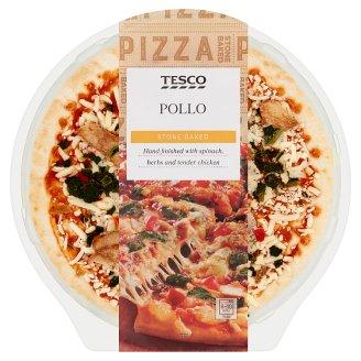 Tesco Pollo paradicsomos sajtos, csirkés, spenótos, pirospaprikás pizza tejszínes szósszal 414 g