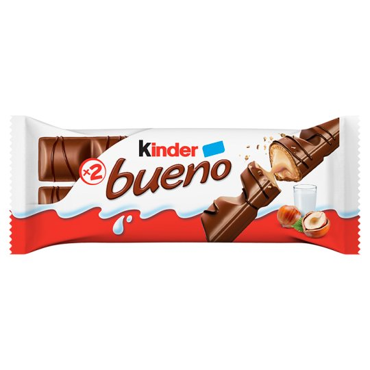 Kinder Bueno Milk Chocolate Covered Wafer with Milky and Hazelnut Filling 2 pcs 43 g