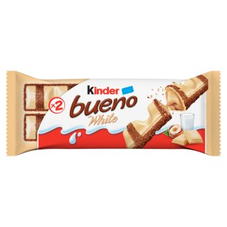Kinder Bueno White Chocolate Coated Wafer Filled with Milky-Hazelnut Cream 2 pcs 39 g