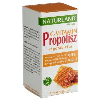 Naturland Premium Propolisz + C méz ízű étrend-kiegészítő rágótabletta édesítőszerrel 60 db 57 g