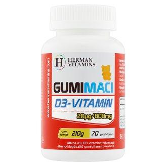 Herman Vitamins Gumimaci D3-vitamin málna ízű étrend-kiegészítő gumivitamin 70 db 210 g