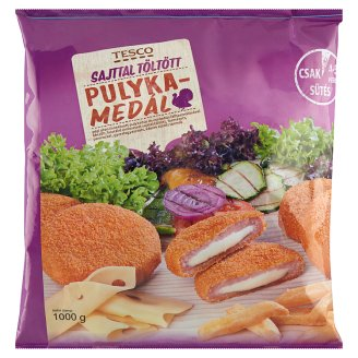 Tesco Quick-Frozen, Ready-Fried, Breaded, Cheese Filled Turkey Medallion 1000 g