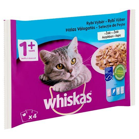 Whiskas 1+ Halas Válogatás teljes értékű állateledel felnőtt macskák számára aszpikban 4 x 100 g