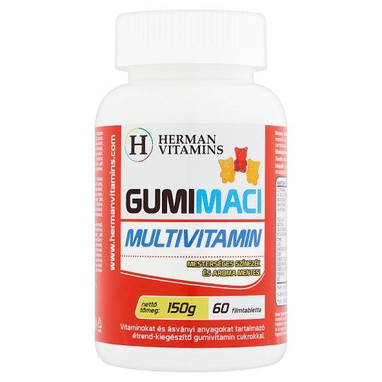 Herman Vitamins Gumimaci Multivitamin étrend-kiegészítő gumivitamin 60 db 150 g