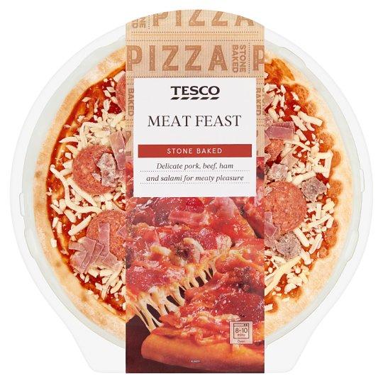 Tesco pizza paradicsomos szósszal, sajttal, sonkával, sült sertés- és marhahússal, szalámival 394 g