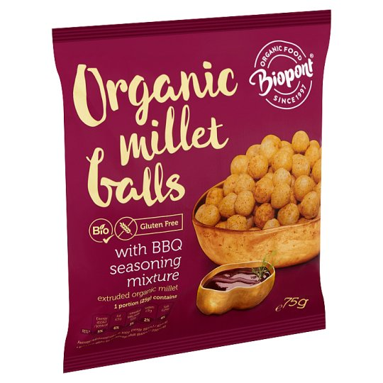 Biopont Organic Gluten-Free Extruded Millet Balls with Barbecue Seasoning Mixture 75 g