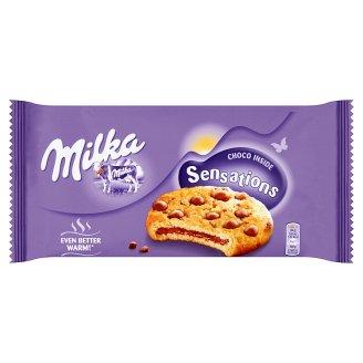 Milka Sensations keksz alpesi tejcsokoládé darabokkal és tejcsokoládés töltelékkel 156 g