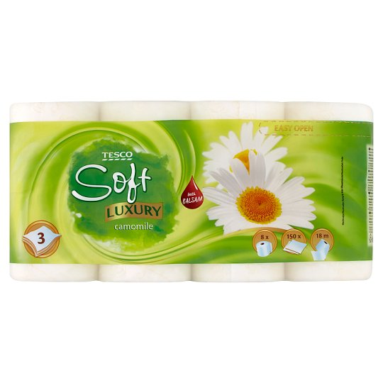 Tesco Soft Luxury Camomile Toilet Paper 3 Ply 8 Rolls
