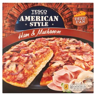 Tesco American Style Quick-Frozen Pizza with Tomato Sauce, Cheese, Ham, and Mushroom 423 g