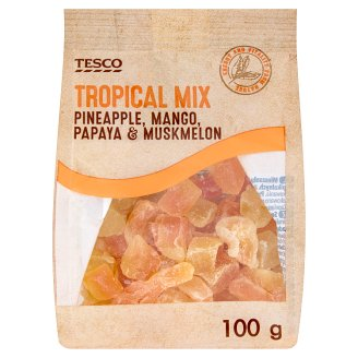 Tesco Pineapple, Mango, Papaya & Muskmelon Tropical Mix 100 g