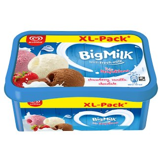 Big Milk Strawberry-, Vanilla-Cream-, and Chocolate Flavoured Ice Cream 1400 ml