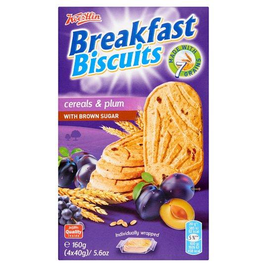 Koestlin Tea Biscuit with Cereals, Plums and Brown Sugar 4 x 40 g