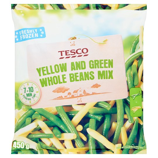 Tesco Quick-Frozen Yellow and Green Whole Beans Mix 450 g