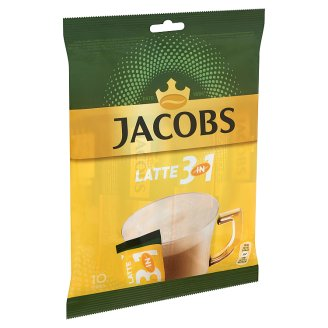 Jacobs Cafe Latte Instant Coffee Flavoured with Sugar and Low-Fat Milk Powder 10 x 12,5 g