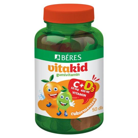 Béres VitaKid C+D₃ gumivitamin, cukormentes gumitabletta étrend-kiegészítő 50 db 150 g