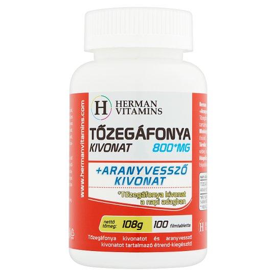 Herman Vitamins Tőzegáfonya Kivonat 800 mg +Aranyvessző kivonat étrend-kiegészítő 100 db 108 g