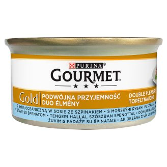 Gourmet Gold Complete Pet Food for Adult Cats with Sea Fish in Spinach Sauce 85 g