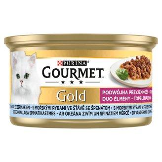 Gourmet Gold teljes értékű állateledel felnőtt macskák részére tengeri hallal spenótos szószban 85 g