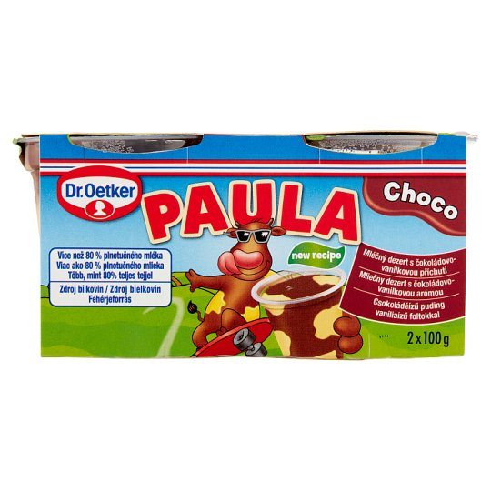 Dr. Oetker Paula Chocolate Flavoured Pudding with Vanilla Flavoured Pudding 2 x 100 g