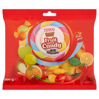 Tesco Candy Carnival citrom-, narancs-, alma- és eperízű töltött keménycukorka 200 g