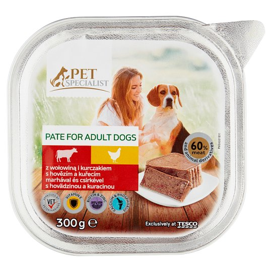 Tesco Pet Specialist teljes értékű állateledel felnőtt kutyák számára marhával és csirkével 300 g