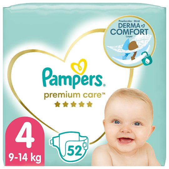 Pampers Premium Care Size 4, Nappy x52, 9kg-14kg