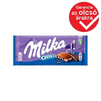 Milka Oreo alpesi tejcsokoládé kakaós kekszdarabkákkal és vaníllia ízű tejes krémmel töltve 100 g