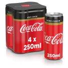 Coca-Cola Zero koffeinmentes, energiamentes szénsavas üdítőital édesítőszerekkel 4 x 250 ml