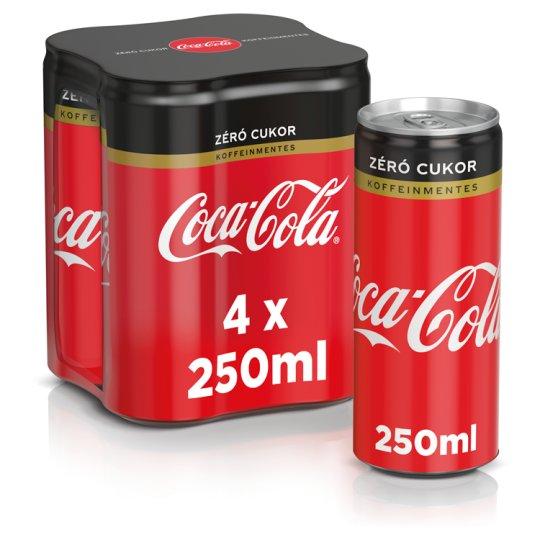 Coca-Cola Zero Caffeine-Free Energy-Free Carbonated Soft Drink with Sweeteners 4 x 250 ml