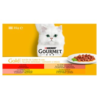 Gourmet Gold Complete Pet Food for Adult Cats in 4 Tastes 4 x 85 g