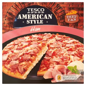 Tesco American Style gyorsfagyasztott sonkás pizza 417 g