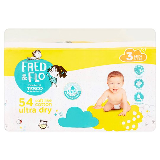 image 1 of Fred & Flo Ultra Dry 3 Midi 5-9 kg Nappies 54 pcs