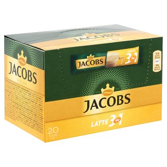 Jacobs Latte 3in1 Instant Coffee Powder with Sugar and Low-Fat Milk Powder 20 pcs 250 g