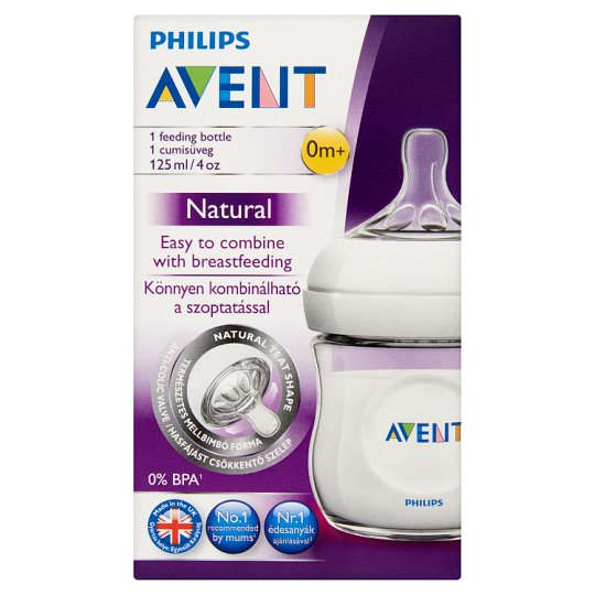 Philips Avent Natural 125 ml Feeding Bottle with New-Born Flow Feeding Soother 0+ Months