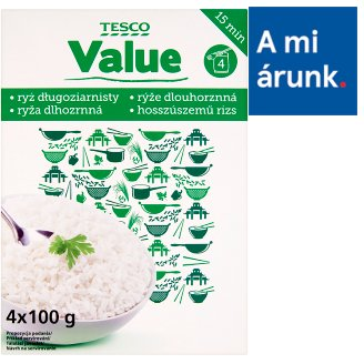 "Tesco Value Long Grain ""B"" Quality Rice in Boiling Bags 4 x 100 g"
