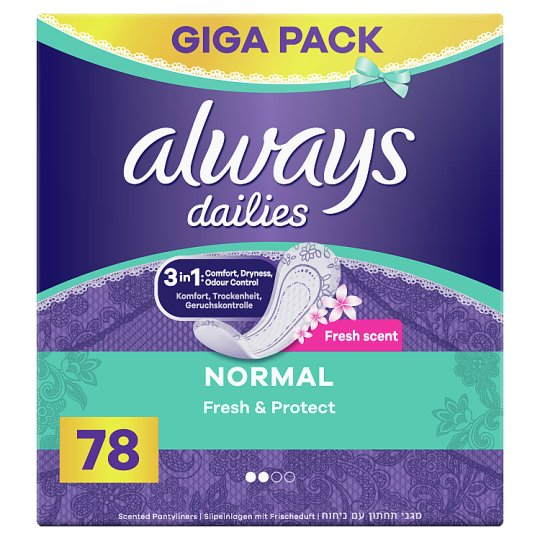 Always Dailies Fresh & Protect Normal Fresh Tisztasági Betét 78 Db