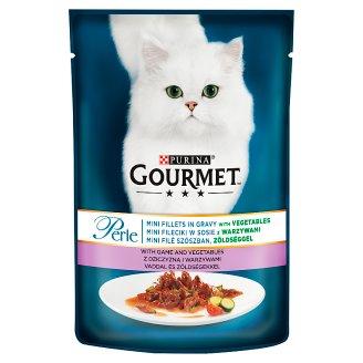 Gourmet Perle teljes értékű állateledel felnőtt macskák részére vadhússal és zöldséggel 85 g