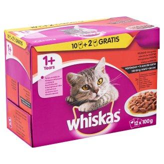 Whiskas 1+ Húsos Válogatás teljes értékű állateledel felnőtt macskák számára mártásban 12 x 100 g