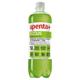 Apenta+ Focus alma-kiwi ízű szénsavmentes energiaszegény üdítőital vitaminokkal 750 ml