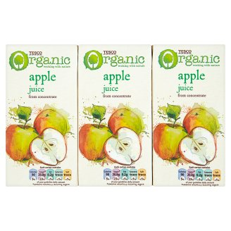 Tesco Organic Apple Juice 3 x 200 ml